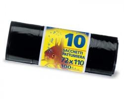SacchI neri condominio misura 72x110cm, in rotolo con fascetta, bassa densità, capacità 100l, conf. da 10pz