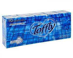 Toffly 9 Fazzoletti in cellulosa extra soft a 4 veli, goffratura perimentrale, 10 pacchetti