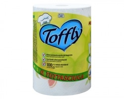 Toffly Mega Lemon rotolo asciugatutto da 100 strappi in pura cellulosa, goffratura a cuscinetti, Made in Italy