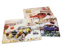 Cartellina con elastici angolari in fantasia Classic cars, assortite