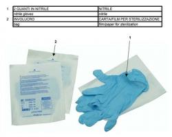 Pvs GUA155 Guanti in nitrile sterili monouso per pronto soccorso, taglia l - 1pz
