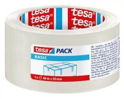 Tesa 58570 Basic - nastro in pp trasparente con adesivo hot melt, rumoroso, 66m x 50mm - confezione 6pz