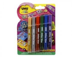 Uhu D1549 Colla glitter, colori standard, 10ml - 6pz