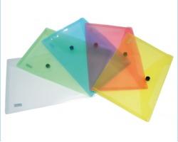 Buste con bottone formato A6 16micron colori assortiti trasparenti - 12pz