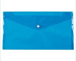Buste con bottone formato A4, 16micron blu - 12pz