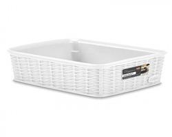 Stefanplast Cestino portaoggetti misura M, 25x19,5x6h, colore bianco, 100% Made in Italy