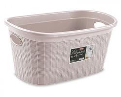 Stefanplast Cesta portabiancheria ovale Elegance, cap. 35l, colore rosa cipria, misure 39x28.5x54.5, 100% Made in Italy