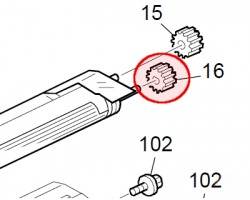 Ricoh B0393060 Development roller gear originale