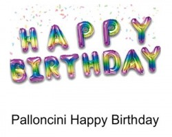 Palloncini Metal rainbow scritta Happy Birthday, gonfiabile con cannuccia