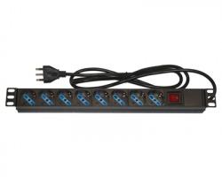 """Link Multipresa rack 19"""" con 8 prese universali con interruttore e spina italiana 16A"""