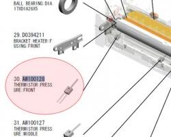 Ricoh AW100128 Thermistor pressure front originale