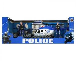 Gioco Set olice Elicottero + Quad e 2 poliziotti, età 3+