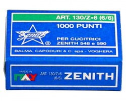 Zenith 301303601 Scatola di 1.000 punti 130/z6 in acciaio (6/6) per cucitrice 530,548,590,conf. 10pz