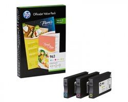 HP 6JR42AE Multipack 1x3 cartucce inkjet ciano, magenta, giallo originale + 125FF di carta A4 (963)