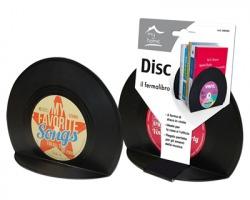 Disc Fermalibro a forma di disco in vinile ideale per casa e ufficio, fantasie disco assortite