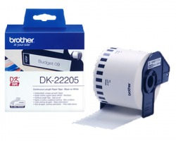 Brother DK22205 Nastro adesivo permanente - scritta nero su bianco 62mmx30,48mt