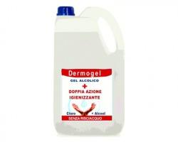 Dermogel Tanica da 5 litri di gel mani senza risciacquo, doppia azione cloro + alcool
