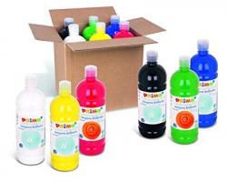 Primo 204BR1000ASS Tempera 6 colori fondamentali in bottiglia da 1L