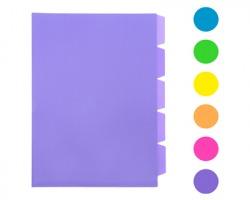 """Scatto 602 Cartellina a """"L"""" in PP con 5 divisori, formato A4, colori fluo assortiti"""