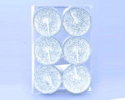 Seta da 6 tea candle color argento glitterate, 4cm