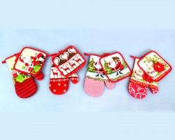 Set natalizio cucina guanto + presina in poliestere, decori natalizi assortiti
