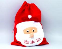 """Sacco in panno rosso con decorazione babbo di natale e scritta """"Ho ho ho"""" misura 50x70cm"""