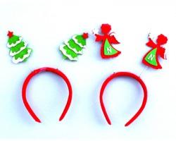 Cerchietto natalizio in feltro rosso con antenne angelo o antenne albero, assortiti