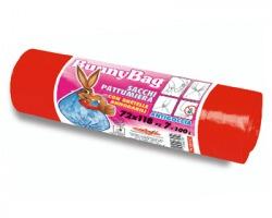 Sacchi per pattumiera rossi in rotolo con bretelle annodabili, antigoccia,misura 72x118cm, capacità 100l, conf.7pz