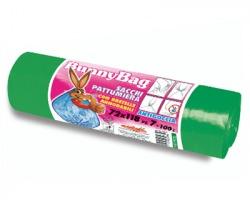 Sacchi per pattumiera verdi in rotolo con bretelle annodabili, antigoccia,misura 72x118cm, capacità 100l, conf.7pz