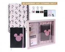 Disney Topolino set cancelleria con notebook A5+ bloc notes+ 3 clip per fogli+ 3 segnapagina