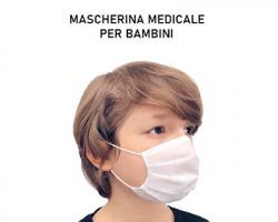 Mascherina chirurgica medicale bambino, triplo strato, conf. da 50pz (Marchio CE)