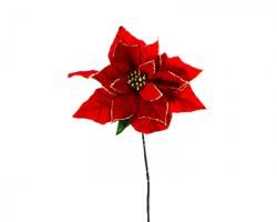 Fiore Stella di natale rossa con bordo oro glitter, misura 26x80cm