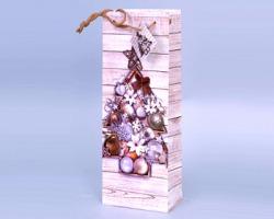 """Sacchetto Regalo Natale per bottiglia """"Legno con albero tonalità crema"""" 13cm x 36cm - 1pz"""