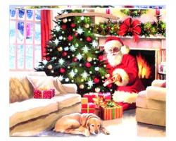 """Sacchetto Regalo Natale """"Babbo natale con albero fronte caminetto"""" 33cm x 26cm - 1pz"""