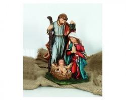 Presepe completo Sacra Famiglia in resina, misura 13x21cm, in scatola