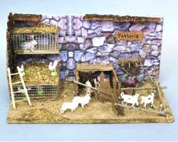 Scena per presepe Fattoria con animali con base, misure 28x18x22cm