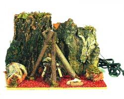 Falo'/ Fuoco elettrico per presepe con sfondo rocce in corteccia, misure 20x15cm
