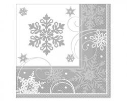 Tovaglioli natalizi a tema fiocchi di neve, misura 33x33cm, 16pz, colore bianco e grigio
