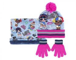 LOL Surprise Set idea regalo, berretto con pon + collo in micropile e un paio di guanti da bambina, taglia unica