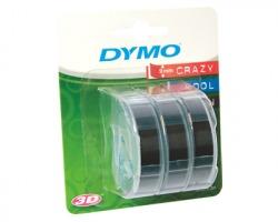 Dymo S0847730 Nastro a rilievo consumer in vinile originale (9mm x 3mt) conf. da 3pz - Colore bianco su nero