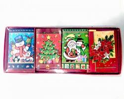 Biglietti auguri natalizi con busta, fantasie assortitite, misura 5.4cm x 8.7cm, conf. da 12pz