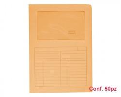 Blasetti 571 Sintex cartelline a L arancione in cartoncino, con finestra e stampa tabella all'esterno - conf.50 pz