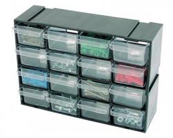Cassettiera modulare porta minuterie a 16 scomparti, misura 22x15x7.5cm