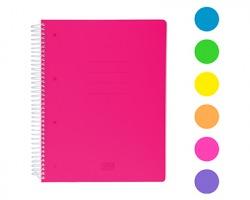 Scatto 974-1 Quaderno con spirale 70 fogli, 1 rigo, colori fluo assortiti